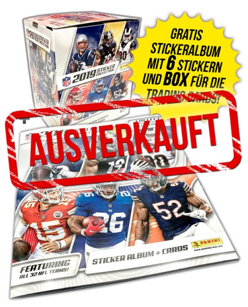 NFL Sticker & Trading Cards 2019 - Box & Album - Bundle - ausverkauft