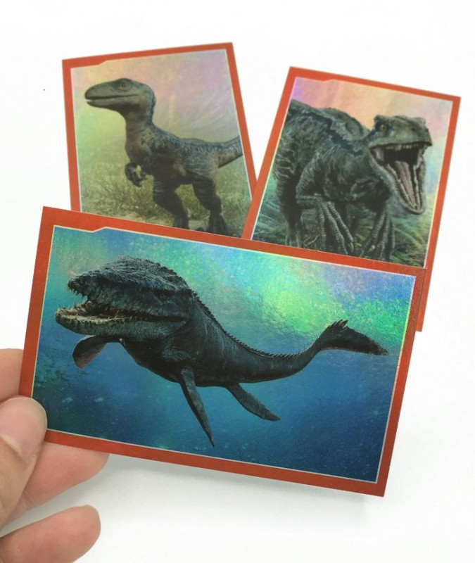 Jurassic World Anthology Sticker & Cards Dinosaurier Aufkleber Beispiel Metallic Look