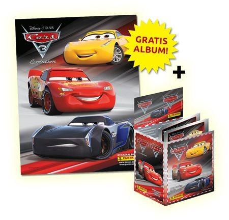 Cars Stickerkollektion - Stickeralbum und Box mit 50 Tüten