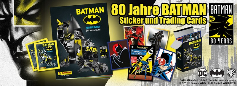 80 Jahre Batman Jubiläumskollektion: Sticker und Trading Cards