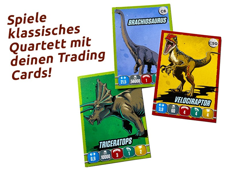 Jurassic World Sticker und Cards Quartett Trading Cards Dinosaurier