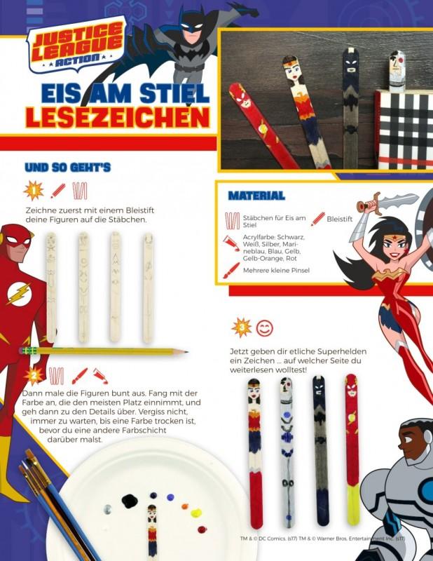 Bastelvorlage DC Justice League Lesezeichen aus Eis-Stäbchen
