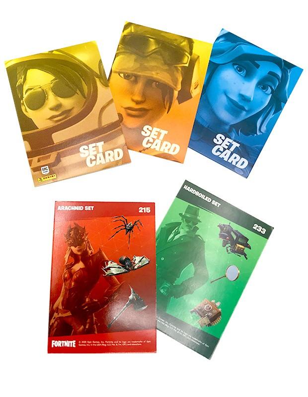 Fortnite Reloaded Trading Cards - Beispiel der Set Cards mit zwei Motiven