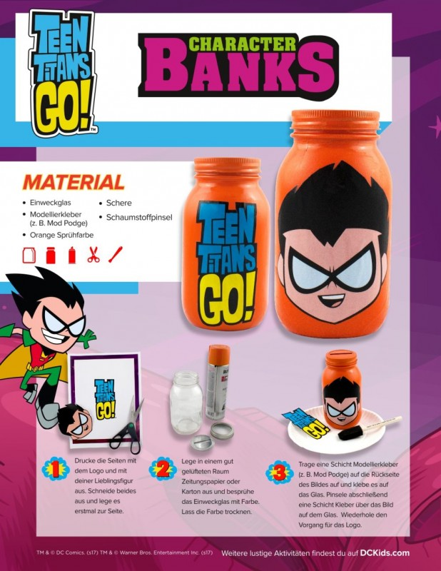 Bastelvorlage DC Teen Titans Einmachgläser