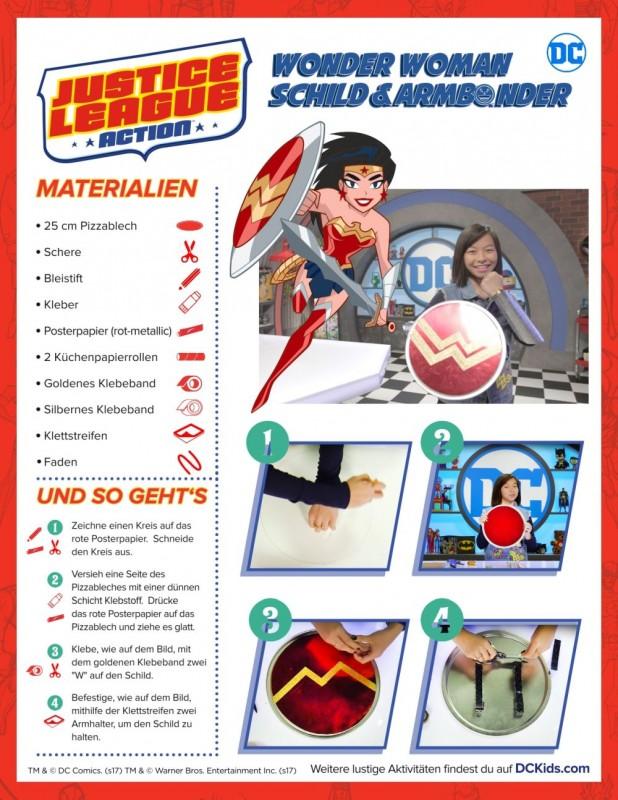 Bastelvorlage DC Wonder Woman Schild + Armschienen