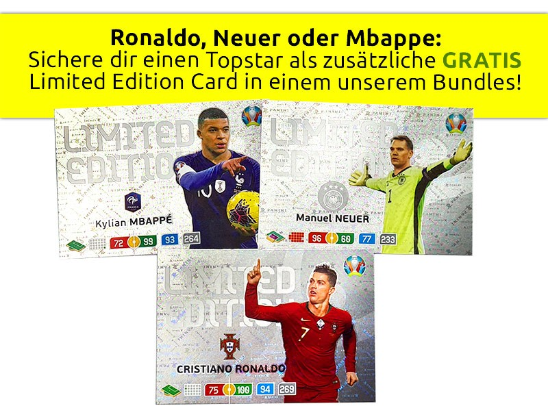 Ronaldo, Neuer oder Mbappe - Limited Edition Cards als Zusatz-Prämie