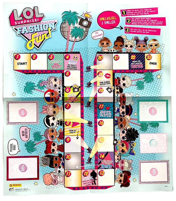 L.O.L. Surprise! Fashion Fun Poster zum Heraustrennen Rückseite Würfelspiel