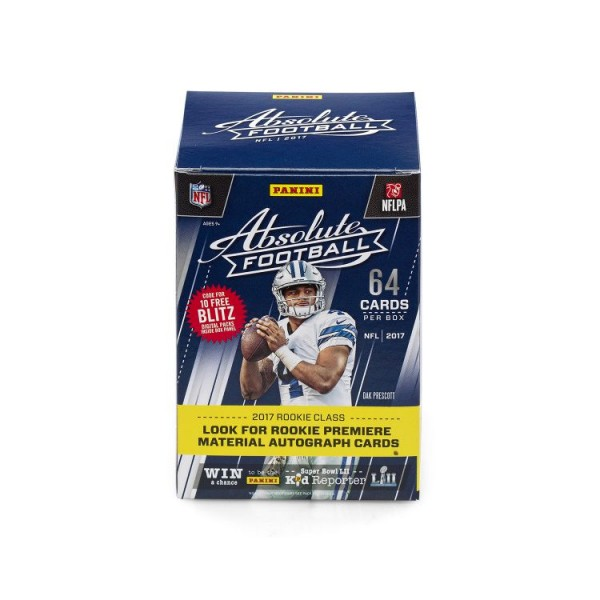 NFL 2017 Absolute Football Trading Cards - Box mit 8 Boostern