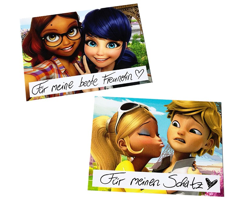 Miraculous Sticker und Trading Cards Sondersticker Beispiel Trading Card als Grußkarte