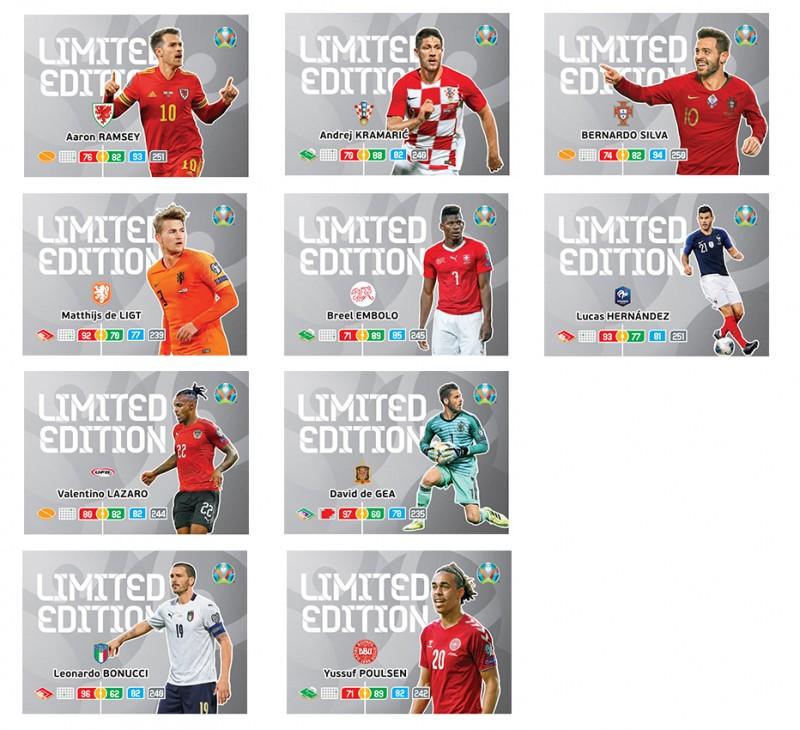 Abbildung von zehn Limited Edition Cards der UEFA Euro 2020 Adrenalyn XL