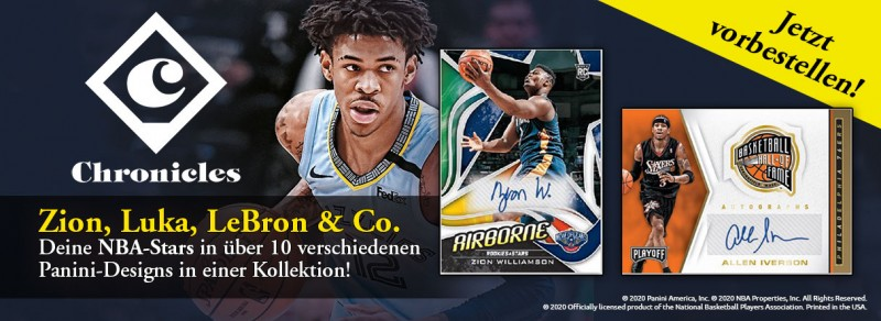 NBA Chronicles 2019/20 - Zion, Luka, LeBron & Co. - Deine NBA-Stars in über 10 verschiedenen Panini-Designs in einer Kollektion!