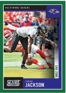 NFL Score 2020 Trading Cards - Lamar Jackson Base-Card