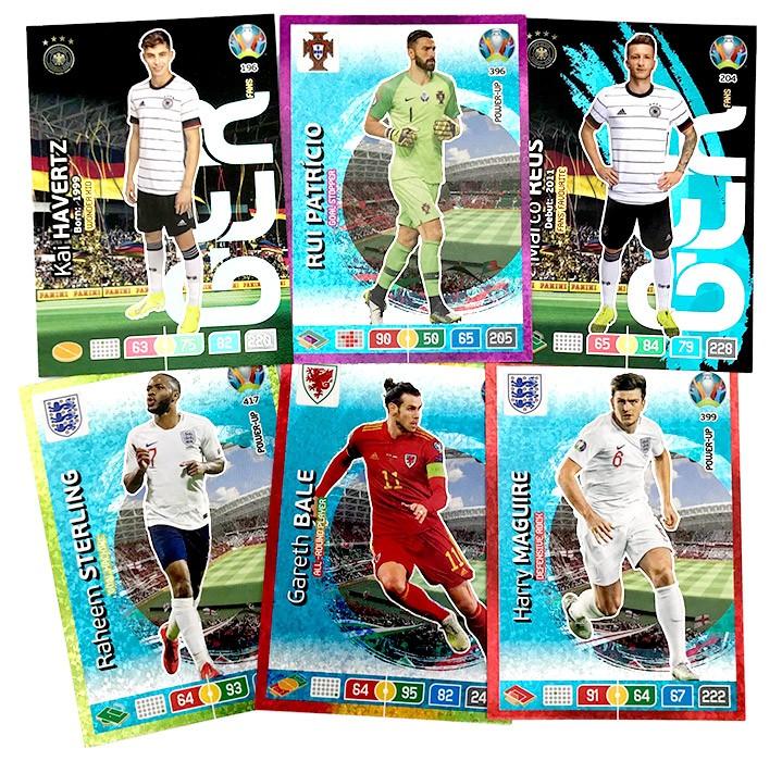 Abbildung von sechs Cards der UEFA Euro 2020 Adrenalyn XL