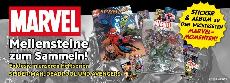 Marvel Meilensteine zum Sammeln – Exklusiv in unseren Heftserien Spider-Man, Deadpool und Avengers