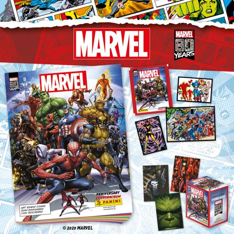 80 Jahre Marvel Sammelkollektion Sticker und Trading Cards