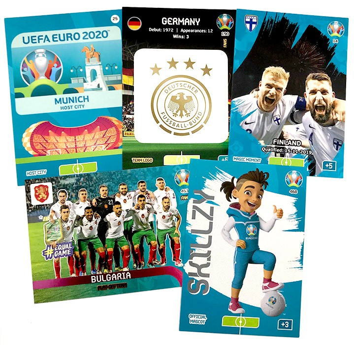 Abbildung von fünf Cards der UEFA Euro 2020 Adrenalyn XL