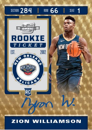 Zion Williamson Contenders Optic Rookie Ticket Gold Vinyl