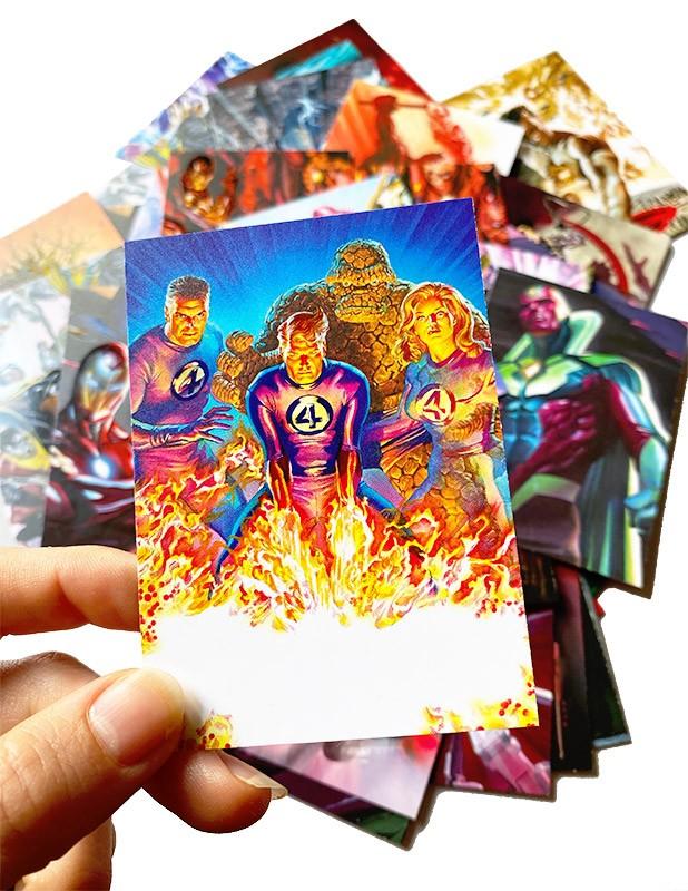 80 Jahre Marvel Sticker und Trading Cards Beispiel UV Lackierung der Cards