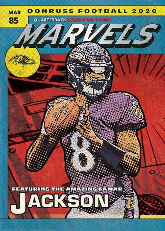 NFL Trading Cards - Donruss Football 2020 - Lamar Jackson Marvels