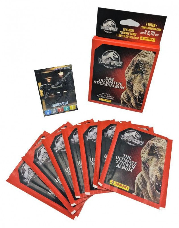 Jurassic World Anthology Blister mit 7 Tüten und 1 von 8 Limited Edition Cards
