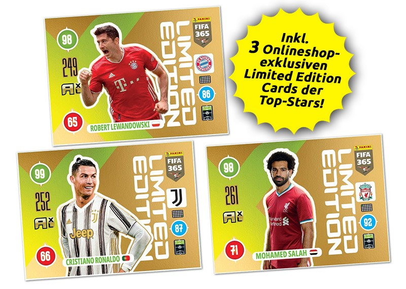 Panini FIFA 365 Adrenalyn XL 2021 - Limited Edition Cards Lewandowski / Ronaldo / Salah