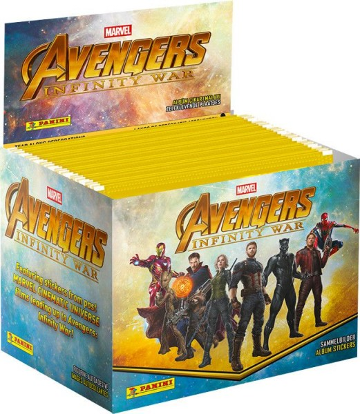 Avengers Infinity War Sticker und Trading Cards Kollektion - Box mit 50 Tüten