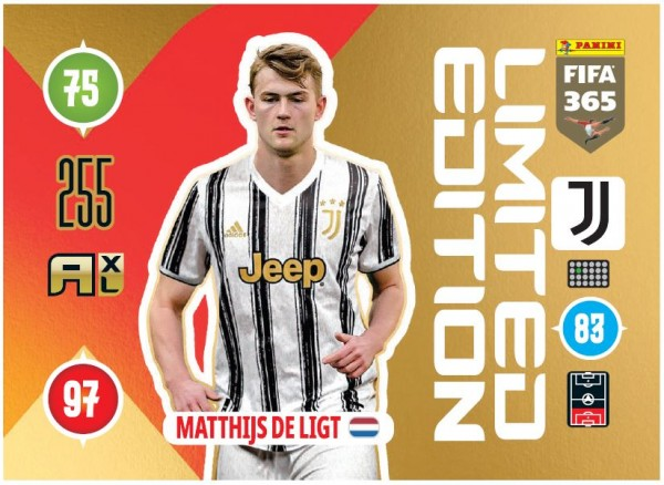 Panini FIFA 365 Adrenalyn XL 2021 Kollektion – LE-Card Matthjis de Ligt Vorne