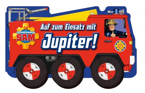 Feuerwehrmann Sam - Auf zum Einsatz mit Jupiter! (Buch mit Rädern) Cover