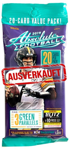 NFL 2019 Absolute Football Trading Cards - Fatpack