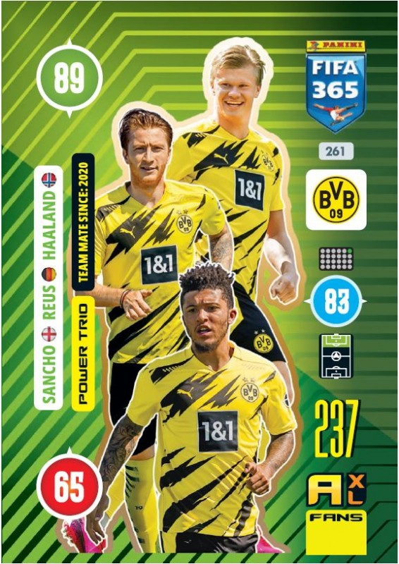 Abbildung von Power Trio Card Reus, Haaland, Sancho der FIFA 365 Adrenalyn XL 2021