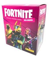 Fortnite Reloaded Trading Cards - Mega-Box mit 12 Packs und 4 Bonus Cards