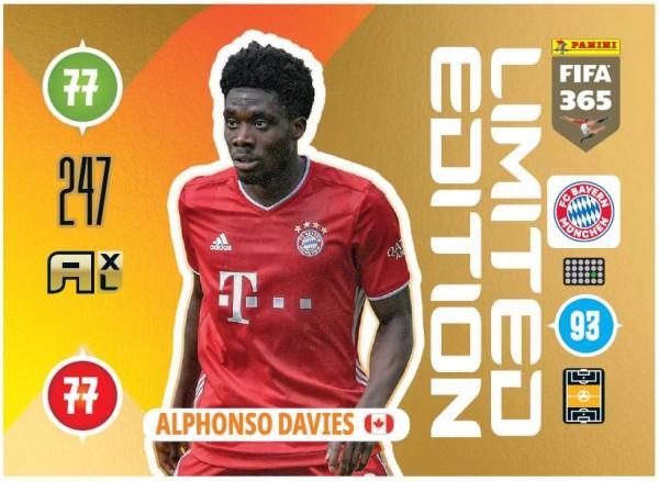 Panini FIFA 365 Adrenalyn XL 2021 Kollektion – LE-Card Alphonso Davies Vorne