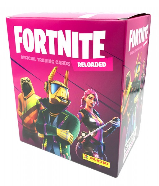 Fortnite Reloaded Trading Cards - Mega-Box mit 12 Packs und 4 Bonus Cards