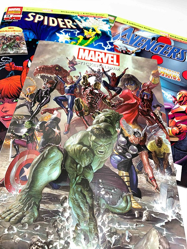 Marvel-Meilensteine Stickeralbum in den Heftserien Spider-Man, Avengers und Deadpool