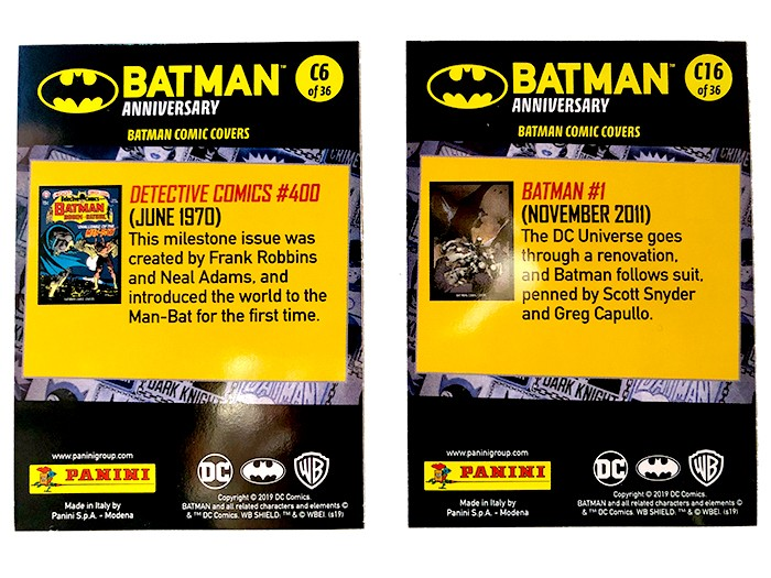 80 Jahre Batman Jubiläumskollektion: Batman Comic Covers Trading Cards hinten