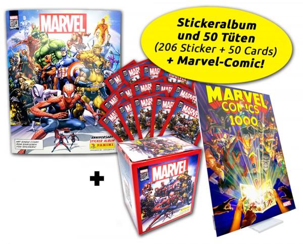 80 Jahre Marvel Ultimate Bundle - Sticker + Comic Übersicht Inhalt