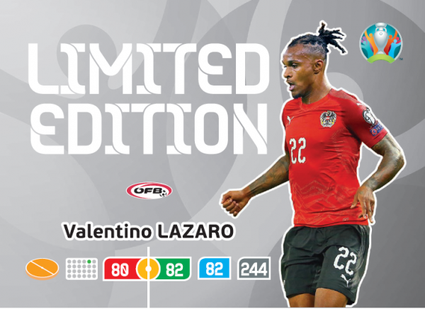 UEFA Euro 2020 Adrenalyn XL Limited Edition Card Valentino Lazaro